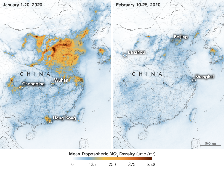 Airborne Nitrogen Dioxide Plummets Over China - earthobservatory.nasa.gov